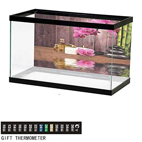 (Suchashome Fish Tank Backdrop Spa,Spa Relax Candle Blossom,Aquarium Background,24