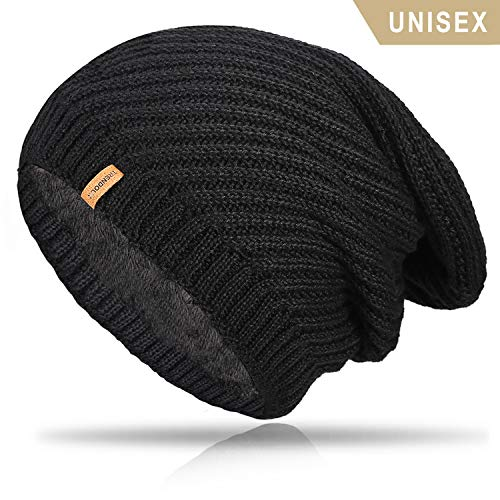 TRENDOUX Winter Hat, Knit Slouchy Beanie Warm Lining Men Women - Acrylic Unisex Plain Skull Cap - Baggy Toboggan Beanies - Black
