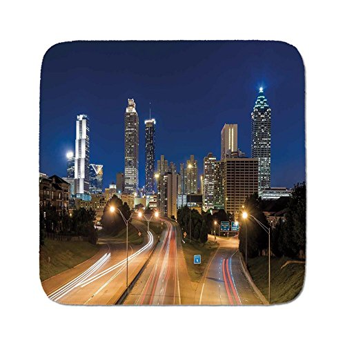 Cozy Seat Protector Pads Cushion Area Rug,Urban,Image of Atlanta Skyline Twilight with Highway Buildings Skyscrapers Blurred Motion,Multicolor,Easy to Use on Any ()