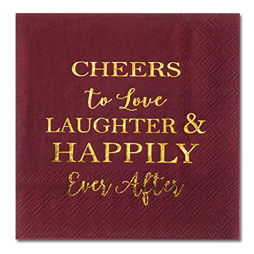 Crisky Bridal Shower Burgundy Napkins Disposable Burgundy Cocktail Beverage Dessert Napkins for Wedding Shower Engagement Party Decorations, 100 Pcs, 3-Ply
