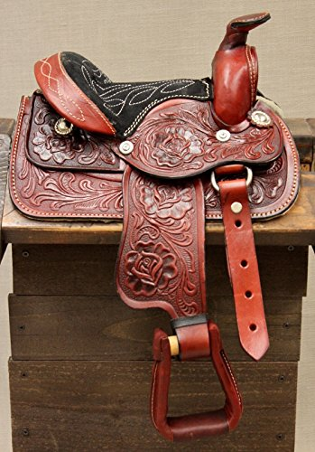8″ Children Burgundy Western Leather Saddle Miniature Pony Saddle