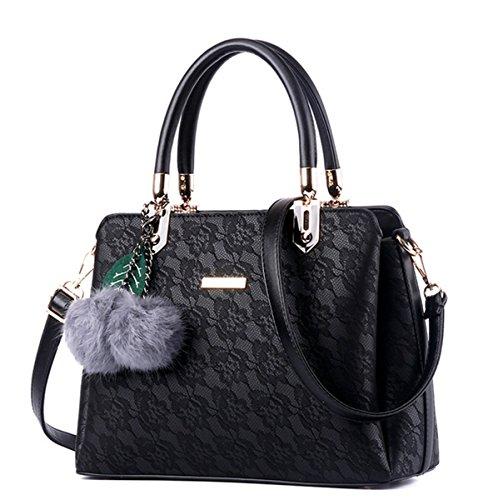 Lace Leather Tote (Flada Ladies Vintage Handbags Women Clutch Purse Tote Lace Shoulder Bags)