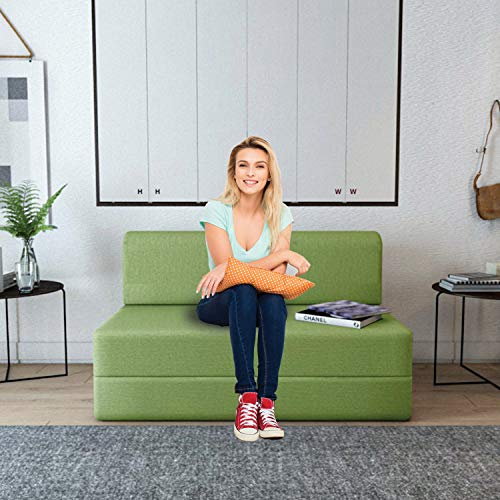 Aart Store One Seater Sofa Cum Bed Furniture 3x6 Feet Sleeps and Comfortably Perfect for Guests  Green