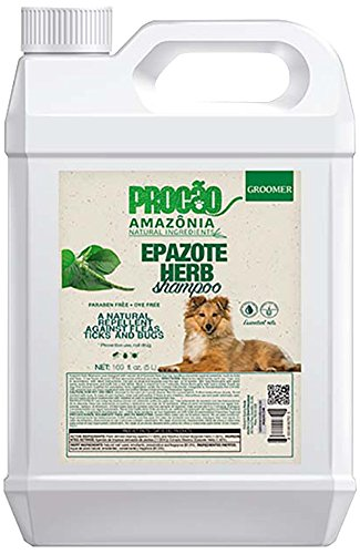 PROCÃO Pet Shampoo Epazote Herb Shampoo (Gallon) - Natural Bug Repellent - Sustainably Sourced from Amazon Rainforest - No Parabens or Dyes - Soft and Shiny Coat - Essential Oils - Tearless