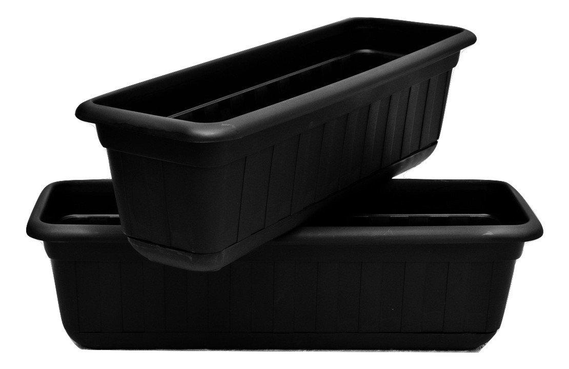 "Premium High-Density Plastic Planter & Flower Window Box Gina 18"" Set of 2 Units by Matri (Black)"