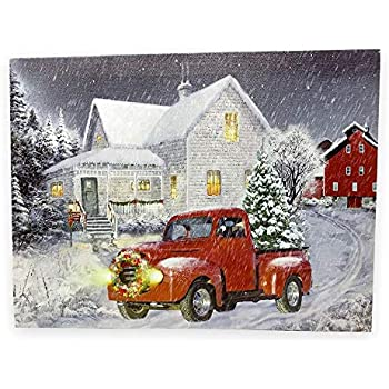 Vintage Red Truck Christmas Decor.Banberry Designs Red Truck Decor Led Lighted Christmas Print With Vintage Red Truck And Xmas Tree Winter Scene Canvas Wall Art