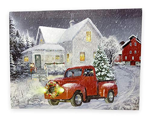 BANBERRY DESIGNS Red Truck Print - LED Lighted Christmas Picture with Vintage Red Truck and Xmas Tree - Winter Scene
