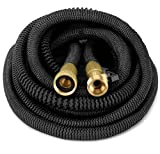 GrowGreen HEAVY DUTY 100' Feet Expandable Hose Set, Strongest Garden Hose On Earth All Solid Brass Connector + Storage Sack