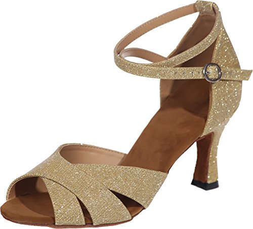 CFP Ladies Latin Dance Shoes Tango Cha-Cha Swing Ballroom Party Wedding Practice Sudue Sole 3IN Ankle Straps Peep Toe Glitter PU Gold uUQK6EeMjC
