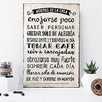 Ares Design Atelier Cuadro Decorativo Vintage/Normas de la Casa/Pintura a Mano/Decoración Hogar / 60 X 40 / Pintura Blanco Negro/Sala/Comedor/Recamara