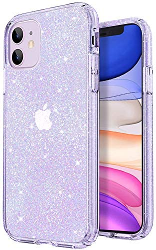 JJGoo Crystal Glitter Compatible with iPhone 11 Case, Bling Clear & Shockproof Protective Phone Cases Cute Thin Slim Cover for Women Girls (6.1 inch) 2019
