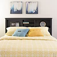 Full-Queen Size Storage Headboard, Black Finish, Bedroom Furniture, Contemporary Style, Bedding, Bookcase-Style Headboard, 3 Shelves, Bundle with Expert Guide for Better Life