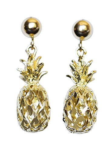- 14K Solid Yellow Gold Pineapple Drop Stud Earrings