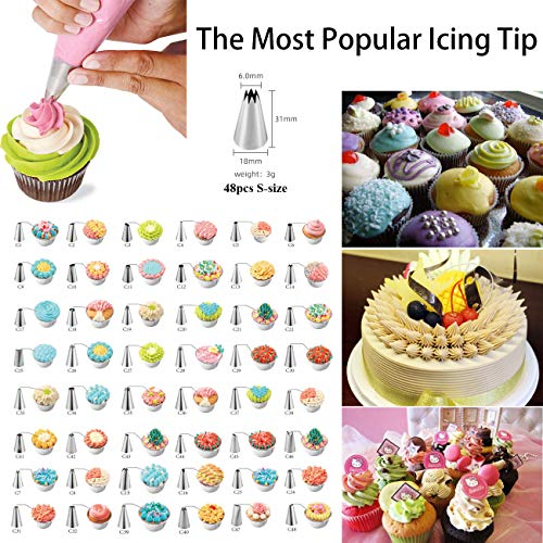 50pcs Cake Decorating Tools Set for Baking Cookie Pastry Supplies Kitchen Utensils Set without Turntable Stand Kit Spatula Cake Leveler, Cupcake Liners & Piping (50m pcs)