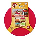 Micro Easy Grab 8-in-1 Multipurpose Silicone Microwave Splatter Guard and Food Cover, 12-inch, Red