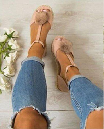 Juleya Women Ladies Flat Peep Toe Pom Pom T-Bar Espadrilles Pumps Sandals Shoe Pink kjdzbj1a