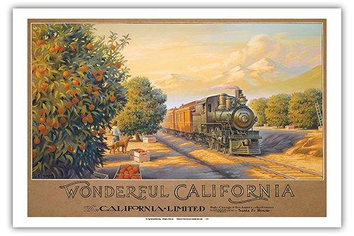Wonderful California - The California Limited - Atchison, Topeka & Santa Fe Railway (ATSF) - Orange Orchards - Vintage Style Railroad Travel Poster by Kerne Erickson - Master Art Print - 12 x 18in ()