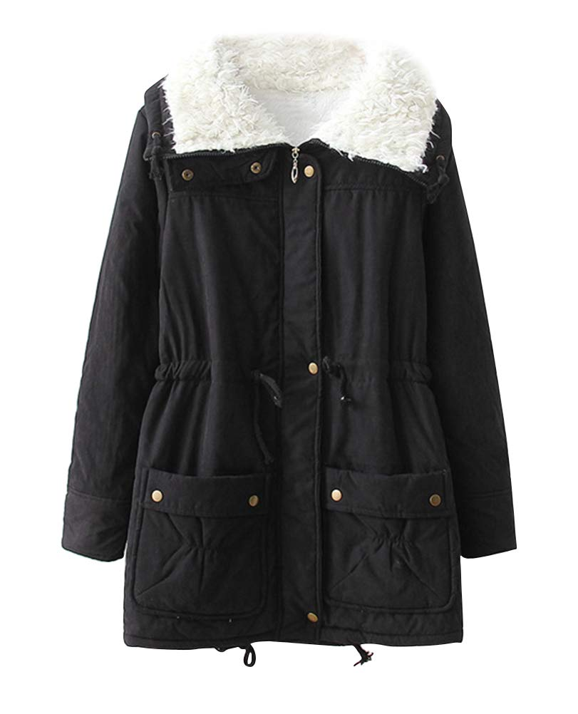 ACE SHOCK Womens Plus Size Winter Coats Faux Fur Lined Quilted Jackets Fashion Winter Parka