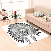 Nalahome Custom carpet ve American Ethnic Theme Apache Skull with Indian Feather Headdress Illustration Black and White area rugs for Living Dining Room Bedroom Hallway Office Carpet (2 X 3)