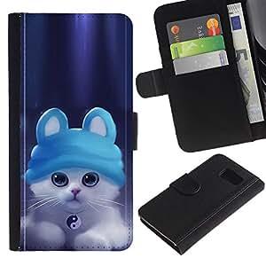 Paccase / Billetera de Cuero Caso del tirón Titular de la tarjeta Carcasa Funda para - Cute Ying Yang Cat Kitten - Samsung Galaxy S6 SM-G920