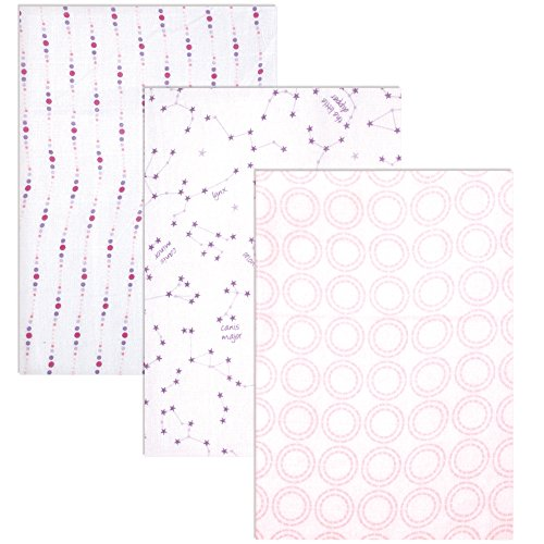 Hudson Baby Unisex Baby Cotton Muslin Swaddle Blankets, Pink Constellation 3-Pack, One Size