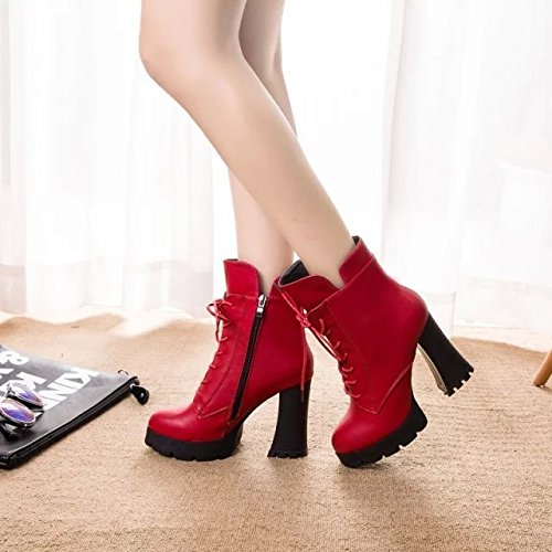 The plush video thin high-heeled women stylish straps side zip waterproof Taiwan thick with short boots, the wine is red (cotton) and 38