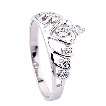 Skyllc Anillo de boda de la manera de la plata esterlina del corazón de la princesa