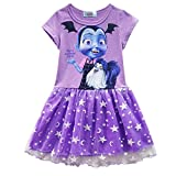 Vampirina Little Girls' Printed Dress Cartoon Design Half Sleeves Costumes Casual Dress for Party Celebration