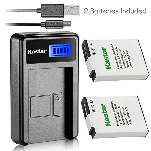 Kastar Battery (X2) & LCD Slim USB Charger for Nikon EN-EL12, ENEL12, MH-65 Coolpix S9900, S9700, AW120, S9500, AW110, S70, S9600, S6300, S6200, S8100, S9100, S800c, S31 Digital Cameras + More (Nikon P310 Charger)