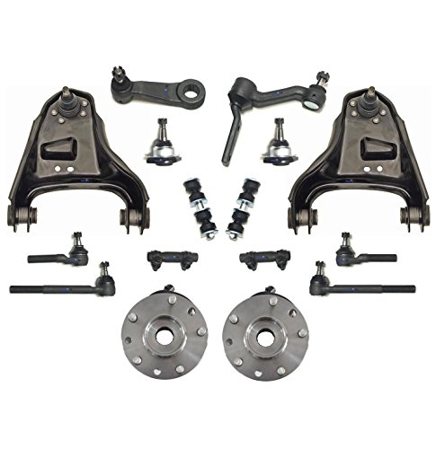 PartsW 16 Pc Complete Suspension Kit for Blazer S10 Jimmy Sonoma Hombre Bravada Control Arms Adjusting Sleeves Inner & Outer Tie Rod Ends Idler & Pitman Arm Wheel Bearing and Hub Assembly - Wheel Bearing Inner
