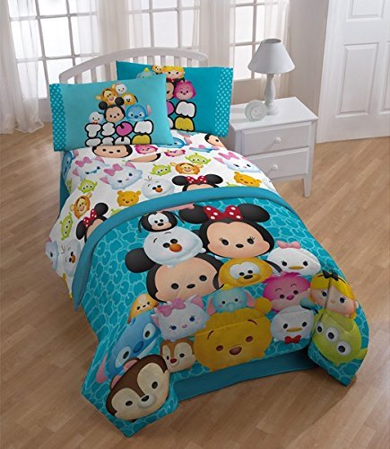 6pc Girls Disney Tsum Tsum Themed Comforter Full Set, Cute Faces Animated Pattern, Abstract Blue Color, Vibrant Blue Background, Colorful Character Bedding