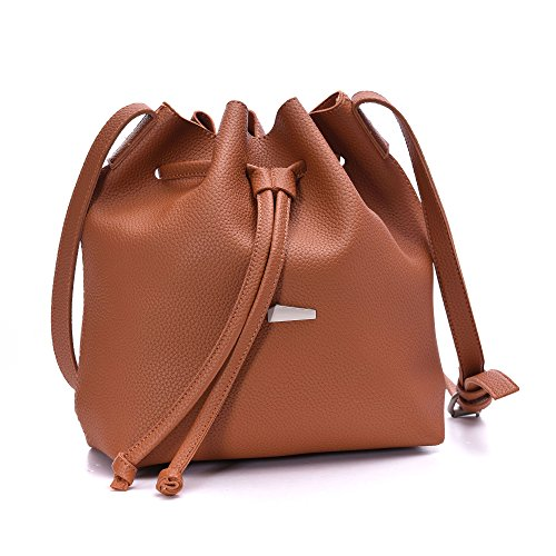Leather Drawstring Purse - Drawstring Bucket Bags 2 Pieces Set, Artmis Women Small Cross-body Purses PU Leather (Brown)