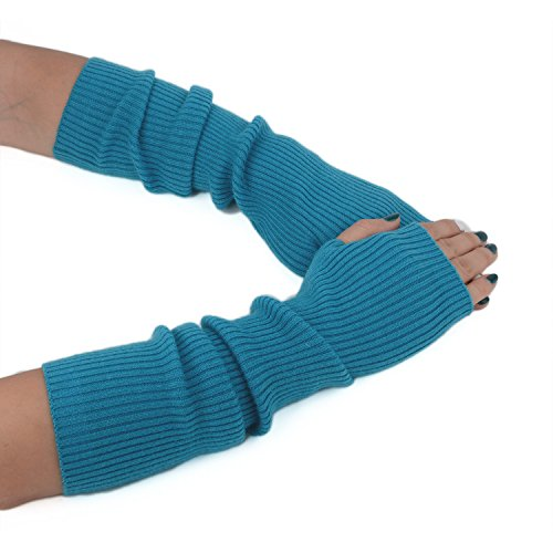 Aqua Mittens (Flammi Women Knit Fingerless Gloves Mittens Arm Warmers Cashmere Thumb Hole Long Gloves (Aqua Blue))