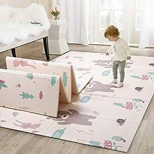 Infant Shining Baby Play Mat, Reversible Foldable Mat 4'8''x6'4'', Waterproof and Antislip Rug (Bear&Koala)
