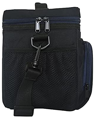 "Insulated Lunch Bag S1: Stylish Lunch Box Office Work Men Women Teens Boys Girls Adjustable Strap Handle Front and 2 Side Pockets H: 10"" x W: 5.1"" x L: 9.2"""