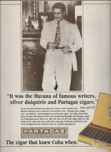 (MAGAZINE AD For Partagas Cuban Cigars 1995 It Was The Havana of Famous)