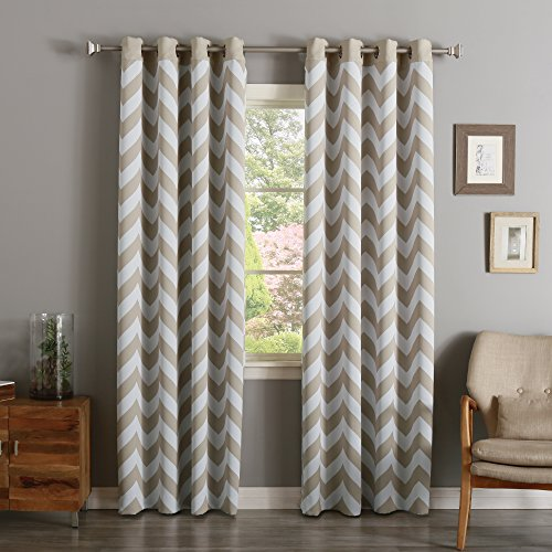 Best Home Fashion Room Darkening Chevron Print Border Curtains – Stainless Steel Nickel Grommets – Beige – 52″W x 96″L – (Set of 2 Panels) For Sale