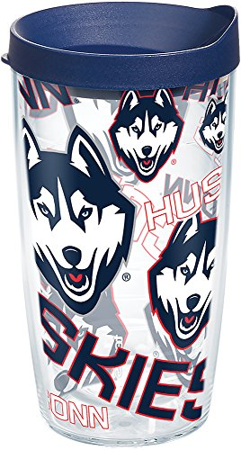 Tervis 1271107 UConn Huskies All Over Tumbler with Wrap and Navy Lid 16oz, Clear - Huskies 16 Ounce Tumbler