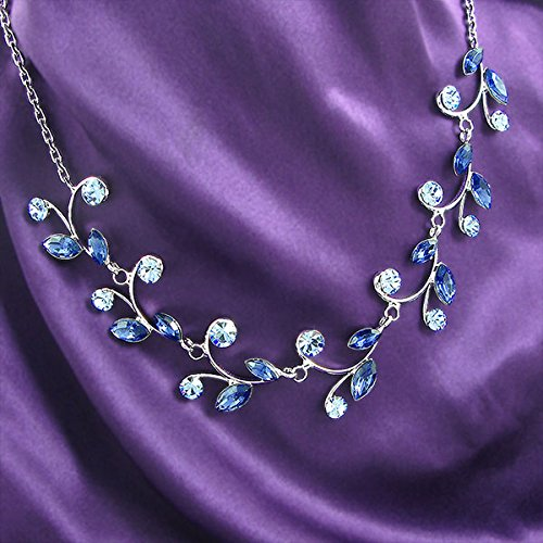 Blue Leaves Necklace with Blue Austrian Element Crystals (977)