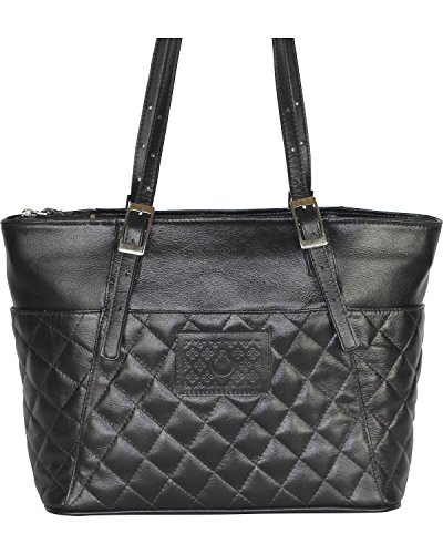 Designer Concealed Carry Women's Quilted Uptown Zip Top Tote Bag Black One (Quilted Zip Top Tote)