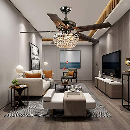 LuxureFan Retro Crystal Ceiling Fan Light with Elegant Crystal Cover and 5 Premium Metal Leaves Elegant for Modern Living Room Restaurant Pull Chain Control of 48Inch  by Luxure Fan (Image #1)
