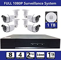 Aposonic Roba FULL HD 1080P Surveillance System,DVR DIY Kits,4 Weatherproof 1080P bullet Cameras,TVI/CVI/AHD/CVBS/IP 8 Channel DVR,1TB HDD Pre-install,100ft Night Vision, Customizable Motion Detection