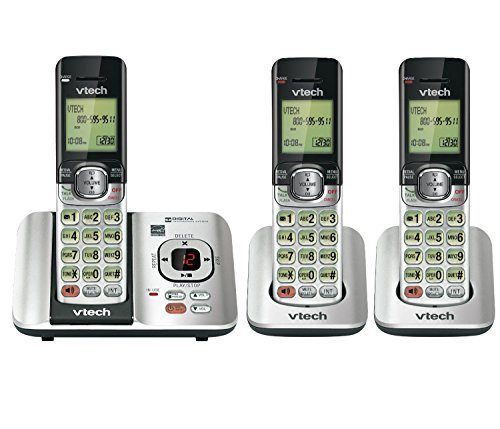 Answering Machine 3 Handsets (VTech CS6529-3 DECT 6.0 Phone Answering System with Caller ID/Call Waiting with 3 Cordless Handsets, Silver/Black)