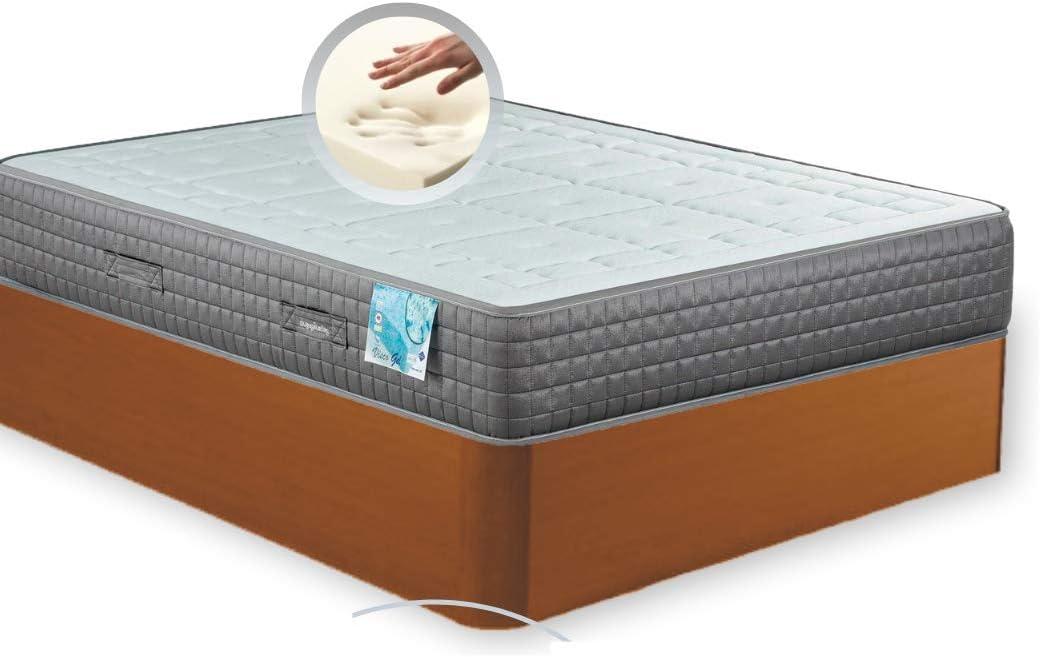 MI CAMA ME LLAMA ESPECIALISTAS EN DESCANSO Canapé de Madera Cheap + Colchón viscoelástico Reversible Premium - Montaje Incluido (Cerezo, 150x190)
