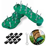 GoTravel2 Lawn Aerator Shoes, Heavy Duty Spiked Sandals for Aerating Lawns, 3 Zinc Alloy Buckles and 3 Straps, Spikes and Wrench, Manual Lawn Aerator Saddles for Aerating Your Lawn or Yard (Green)