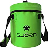 Premium Compact Collapsible Bucket & Lid By SJORN - 10L or 15L Portable Folding Water Container - Lightweight & Durable - Includes Lid & Grab Handles - Best for Camping, Fishing & Outdoors Green 15L