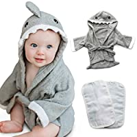 Tulatoo Baby Hooded Shark Towel and Washcloth Set - Perfect Gift Bath Set for...