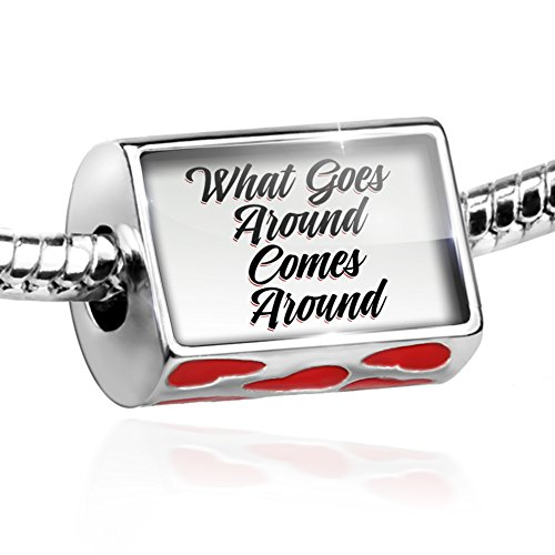 (NEONBLOND Bead Vintage Lettering What Goes Around Comes Around Charm Hearts)