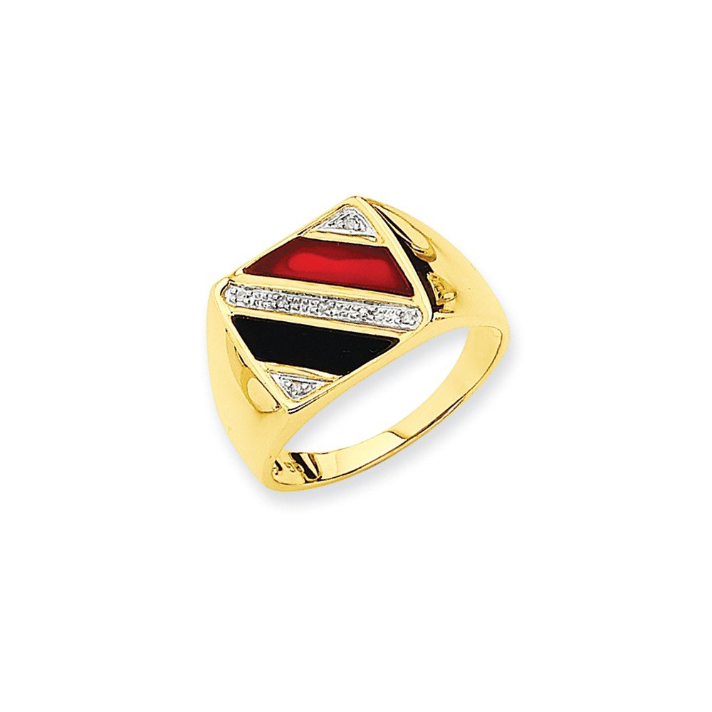 ICE CARATS 14k Yellow Gold Mens Black Onyx Red Agate Diamond Band Ring Size 10.00 Man Fine Jewelry Dad Mens Gift Set by ICE CARATS (Image #3)