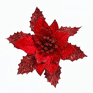 Neomark 6 Pieces 17 cm Artificial Poinsettia Flower for Christmas Tree Wreath House Decoration Blue Red Golden with Shining Edge 4